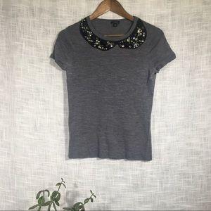 Ann Taylor Merino Wool Peter Pan Collar Sweater